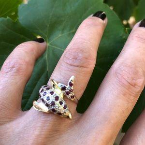 Jewelry - 14K Yellow Gold Rubies & Diamonds Dolphin Ring